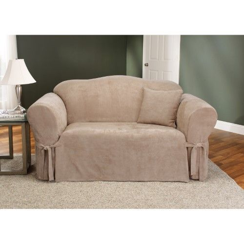 Best Sure Fit Soft Suede Sofa Slipcover Brown Loveseat 400 x 300
