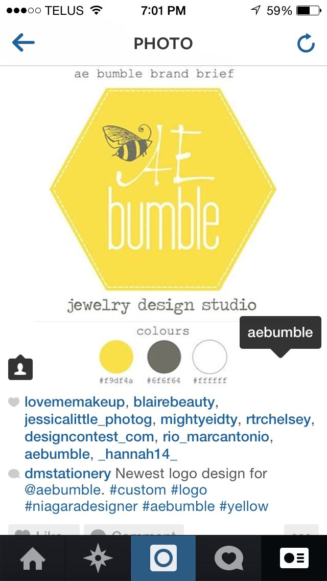 Logo rebrand for @aebumble :: hand drawn bumble :: yellow logo :: handmade jewelry :: AE Bumble :: Defining Moments Stationery