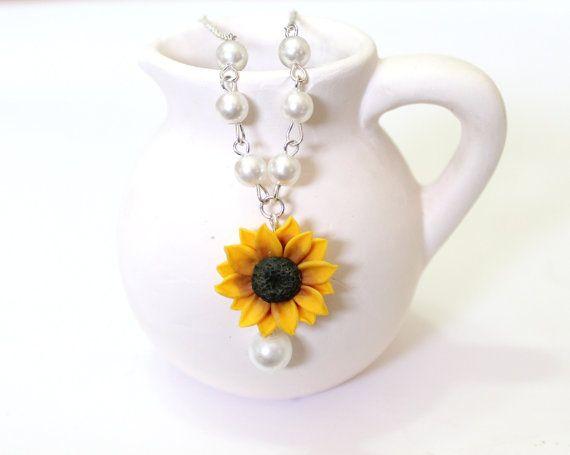 Sunflower Necklace Sunflower Jewelry Gifts by NikushJewelryArt
