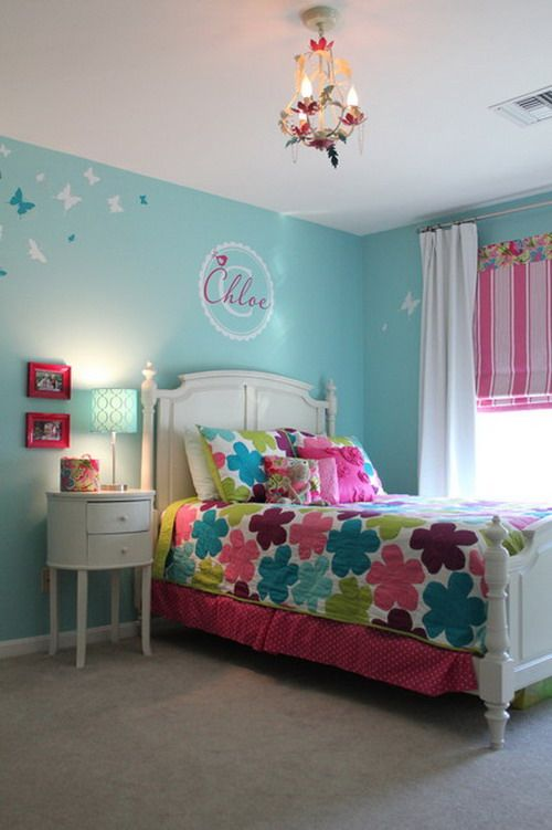 Bright And Amazing Green Wall Themes With Pink Curtains In Girls Bedroom  Furniture Designs Ideas Redecorating
