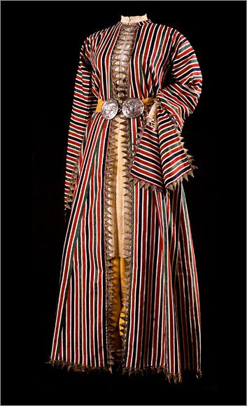 Ottoman striped ensemble, entari, tunic and pants, 19th c