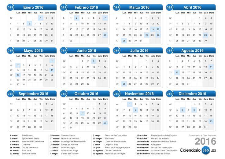 calendario 2016   Descargue el calendario con días festivos 2016 para imprimir.