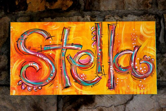 NAME canvas...ORIGINAL PAINTING Acrylic on canvas by DAKRIsinclair, $75.00
