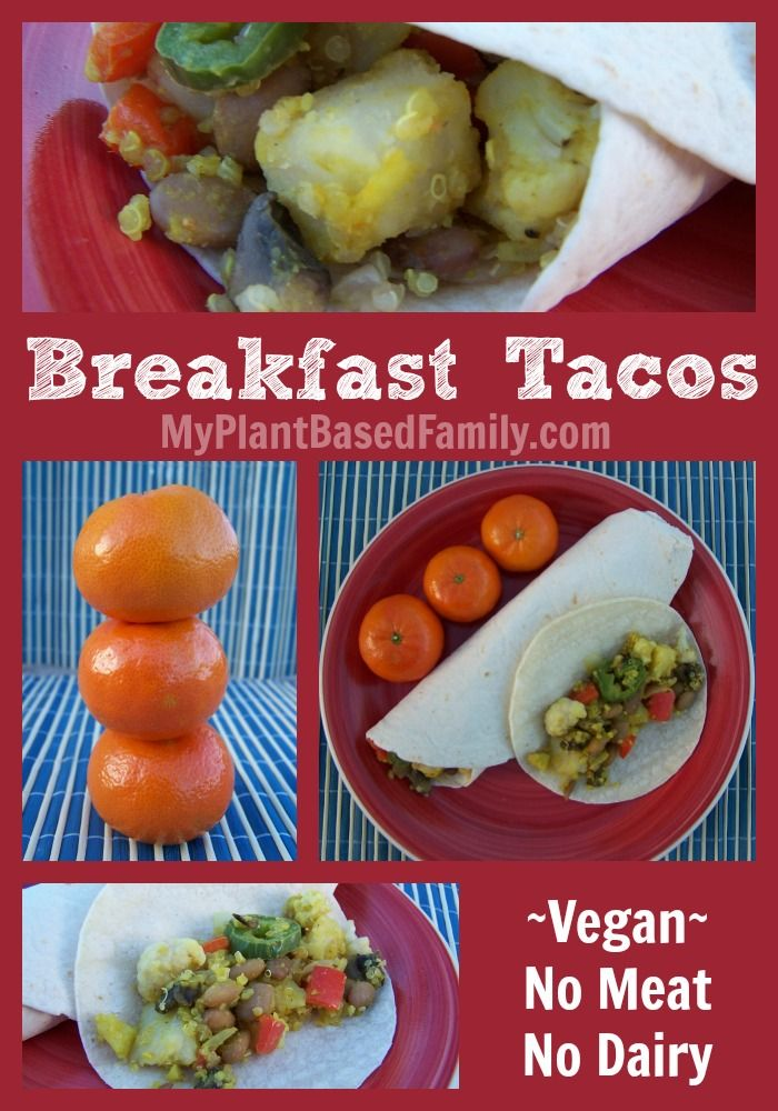 Incredible Breakfast Tacos without meat or dairy. These inexpensive and delicious Breakfast Tacos are easy to make!  #vegan with a gluten-free option for tortilla.