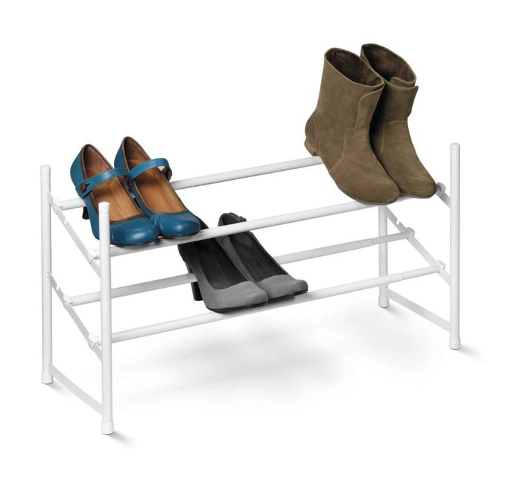 Honey-Can-Do SHO-01167 2-Tier Expandable Stackable Shoe Rack White Closet Organizers Shoe Racks NULL