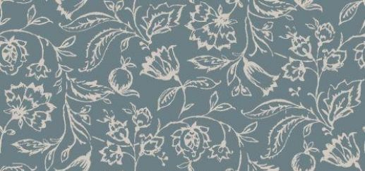 Marie (W0031/10) - Clarke & Clarke Wallpapers - A delicate all over stylised floral trail, in two colours. Shown here in a wedgewood colouring - other colours are available. Wide width. Please request sample for true colour match.