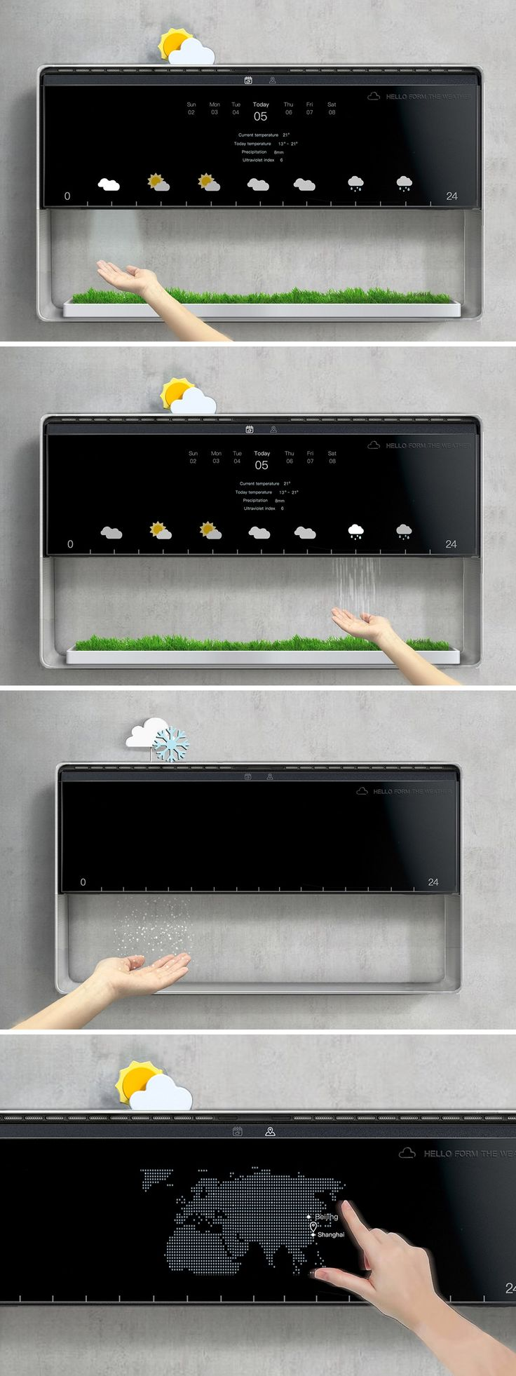 You can read the weather… OR you can feel it! That's the idea behind this imaginative concept by Ellie Zeng. Rather than look to the TV, a newspaper, or app to tell you whether you should bundle up or sport your shorts, this clever design recreates the outdoor conditions in a compact microclimate that you can feel with your hands before venturing outside.