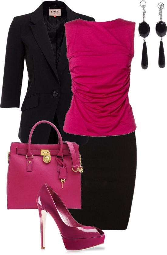 Basic Black+ Color Pop. An easy way to draw attention in a professional way is by pairing a brightly colored blouse with a black suit.  The neutrals make the look traditionally authoritative, but the pink will add a touch of flair.  The matching pink shoes are nice, but you may want to opt for a more classic style instead of the platform---great change from typical boring tournament clothes