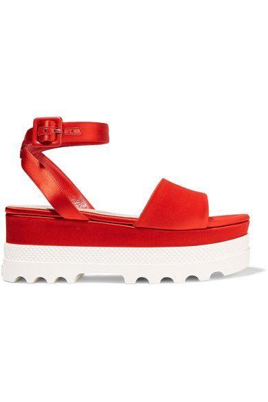 Miu Miu - Satin Platform Sandals - Red - IT40.5
