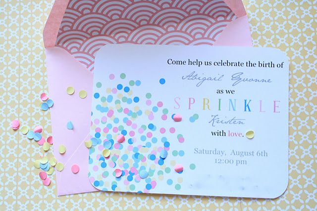 "A ""Sprinkle"" instead of a ""Shower"" for a 2nd or 3rd baby. --Mimi, this is what I was telling you about :)"