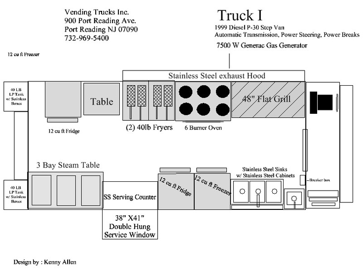 Food truck floorplan food trucks pinterest trucks for Food truck layout plans