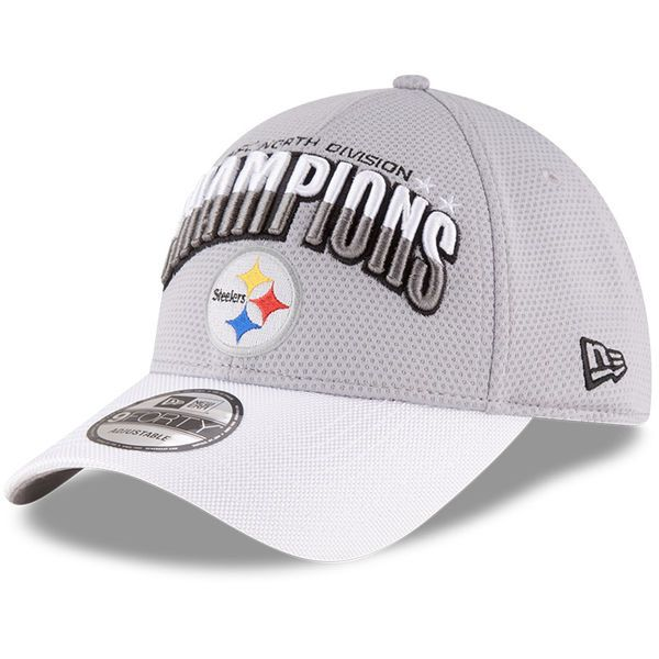 Pittsburgh Steelers New Era 2016 AFC North Division Champions 9FORTY Adjustable Hat - Gray/White - $20.99