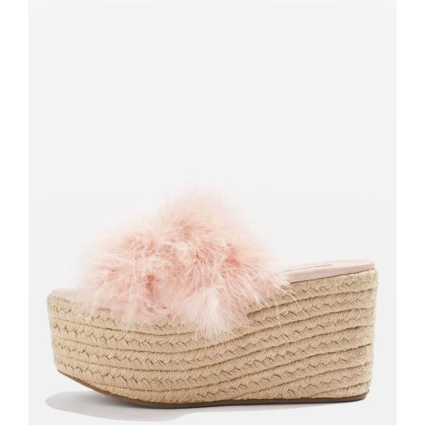 Topshop Warren Fluffy Espadrilles (7.929 KWD) ❤ liked on Polyvore featuring shoes, sandals, nude, high heel wedge sandals, espadrille sandals, strappy sandals, espadrille wedge sandals and chunky-heel sandals