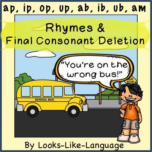 Target rhymes or final consonant deletion for bilabials in this low prep, full of pictures  game, activity and worksheet set!