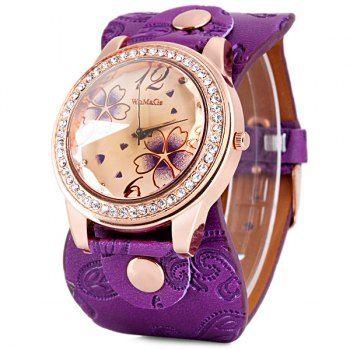 Womage reloj de cuarzo Señora 9965-3 con dial redondo del diamante reloj de cuero Band para Vender - La Tienda En Online IGOGO.ES