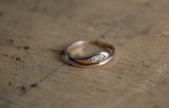 Edwardian anneau de serpent or 18K avec diamond par jeanjeanvintage, $680.00