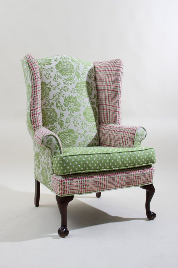 Vintage Refurbished Pink and Green Wingback by JessicaAllynDesigns, $900.00