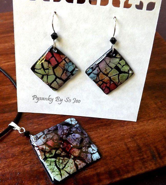 Rainbow Diamond Earrings and Pendant Eggshell Mosaic Jewelry by So Jeo