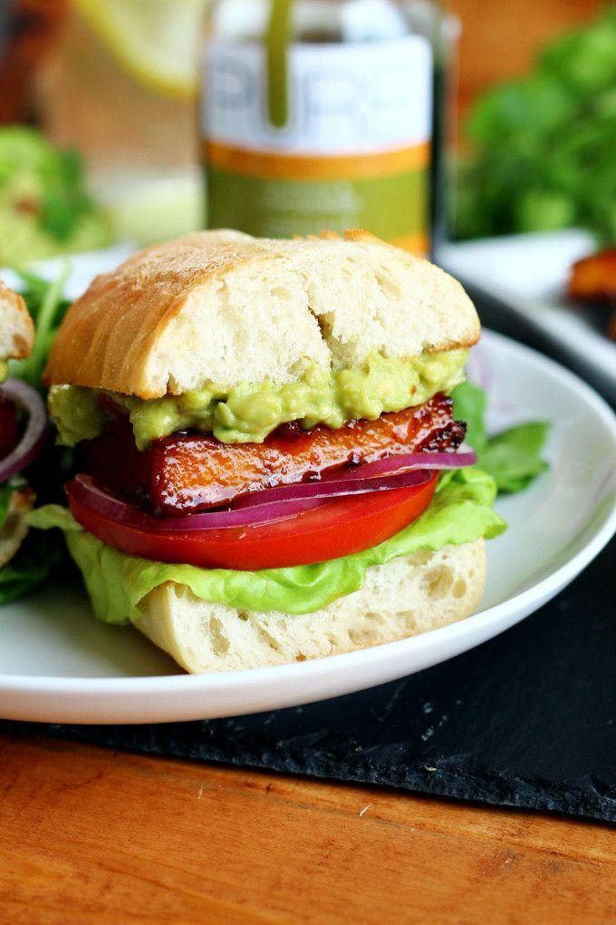 Chipotle Maple Glazed Tofu Burgers - ilovevegan.com #vegan #PUREInfused