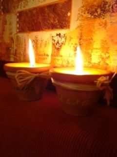 Small pots filled with wax