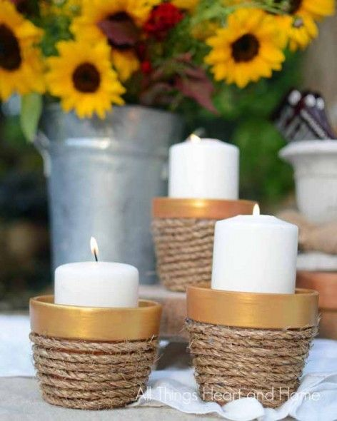 DIY Rope Candle Holders for a summer tablescape.