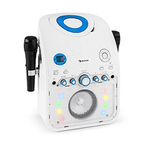 auna StarMaker Chaîne karaoké Bluetooth avec lecteur CD (8 LED multicolores, 2 micros inclus, effet lumineux multicolore LED) blanc: Le…