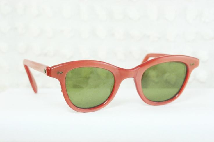 50s Sunglasses 1960s Womens Sunglass Rust Pearl Wayfarer Horn Rim Non Rx. $44.00, via Etsy.