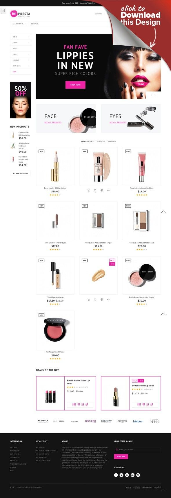 Impresta - Cosmetics Store PrestaShop Theme E-commerce Templates, PrestaShop Themes, Fashion & Beauty, Beauty Templates, Cosmetics Store Templates Are you looking for a beautiful template for you cosmetics online stop? Cosmetics store ImPresta will surely meet all your desires to create a cosmetics store, beauty shop, natural makeup store, or...
