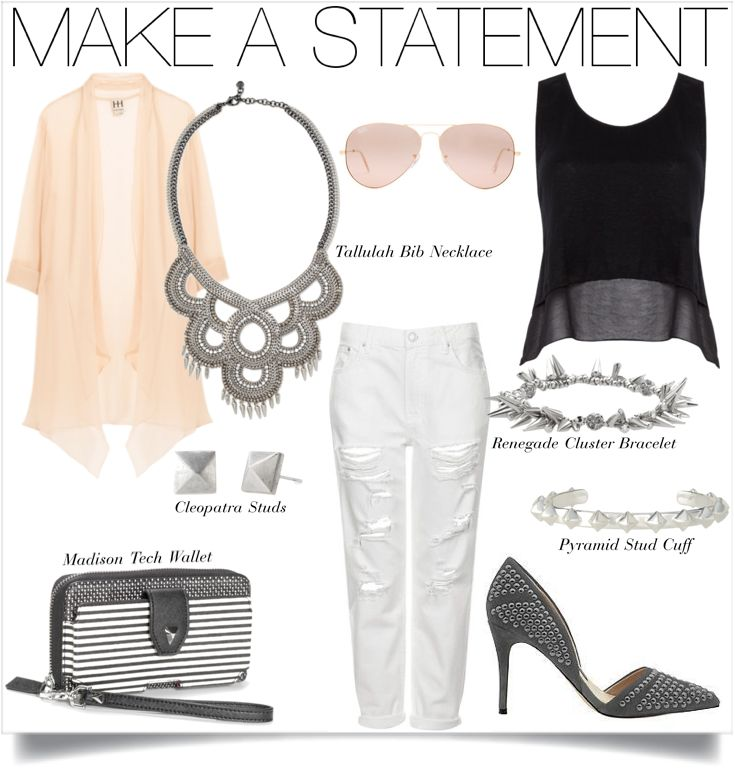 Who says you can't wear white jeans after Labor Day? Not us. Silver, black and white combine for a simple & lovely look.