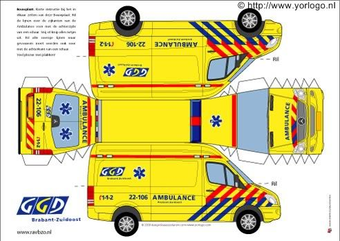 Bouwplaten ambulance, politie en brandweer - Fimo- en ander creatief gefröbel