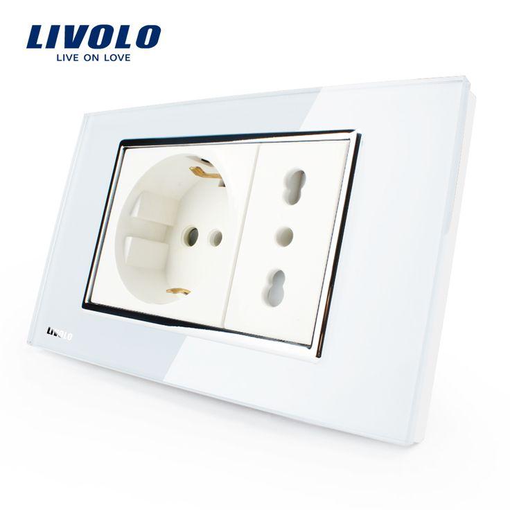 Livolo Toma de Italiano, blanco Cristal, 10A/16A, 250 V, Tomas de Corriente de pared Con Enchufe, VL-C3C2CIT-81