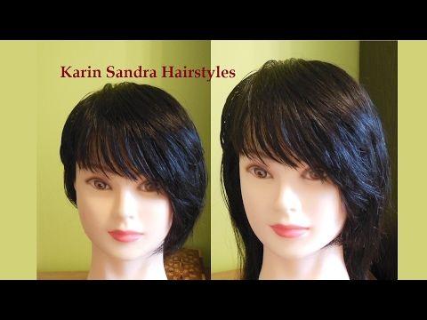 Bangs Side Swept Haircut Tutorial Asymmetrical Bangs With Layers