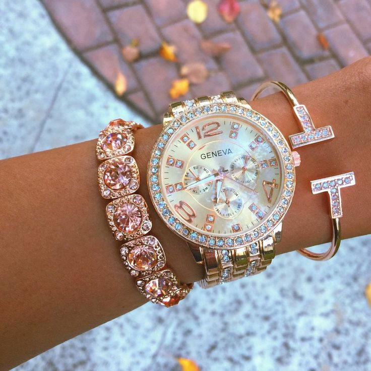 Join the arm party! This stack includes rose gold stainless steel watch, alongside a rose gold rhinestone bracelet, and rose gold sparkle T-cuff. Watch is adjustable to fit most wrists.