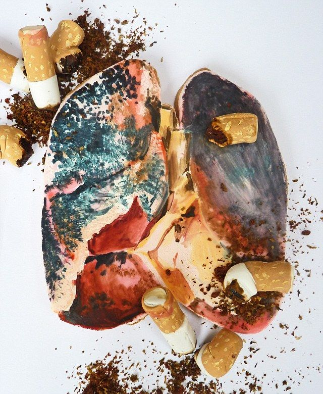 The blackened lung shows the effects of smoking on the body.
