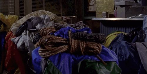 """When Luke stayed up all night to sew a big tent for Rory's going away party that he planned in the town square. 