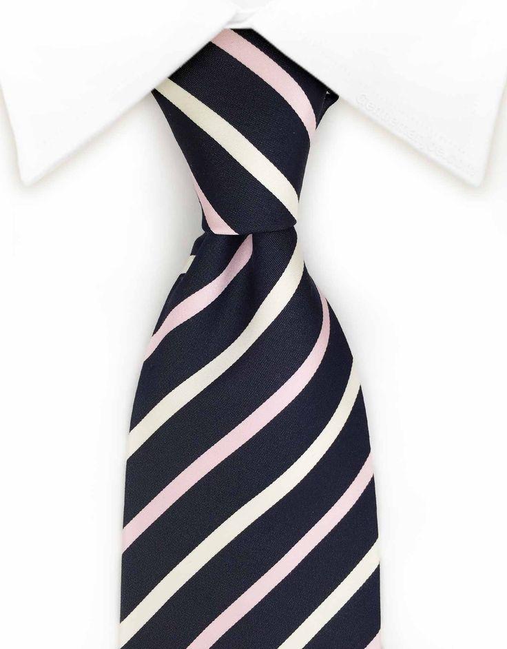 Navy Blue, Pink & White Striped Tie