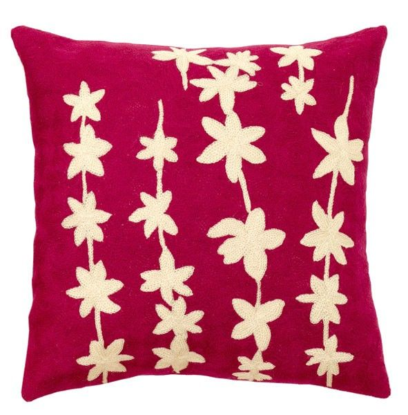Hand-stitched pink cushion cover from Kashmir