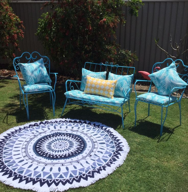 With all of the sewing involved this little garden setting feels like quite the achievement! Blue metal garden setting with blue frond cushions - $200 (yellow cushion and round towel are just for staging).