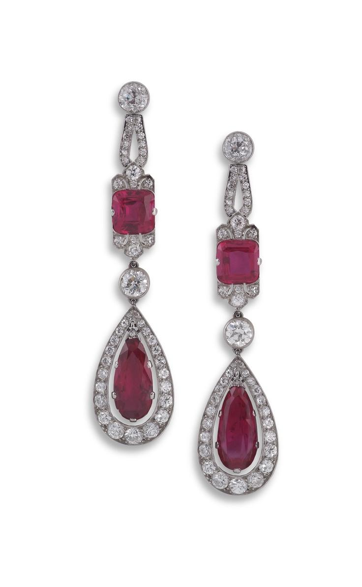 Pair of Art Deco ruby and diamond ear-pendants, each pear-shaped ruby drop in diamond frame suspended from a cushion-shaped ruby and diamond mou