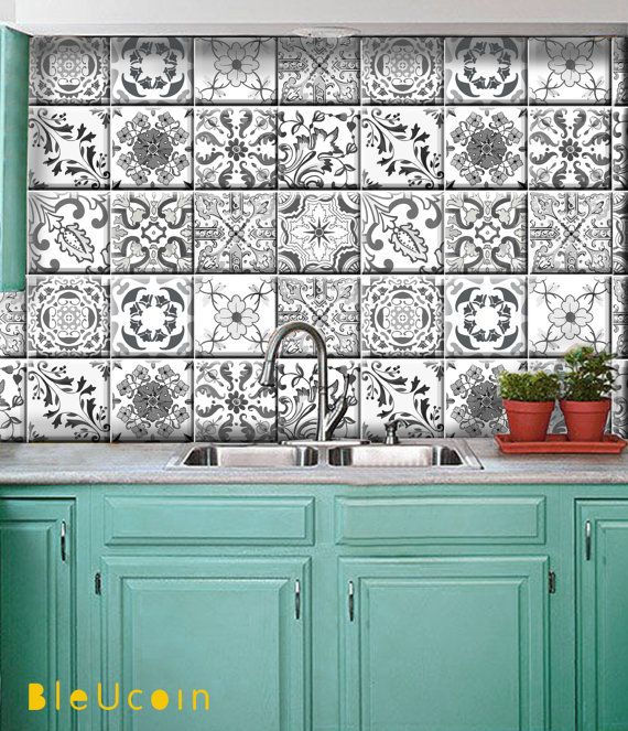 Bleucoin Tile Decal Backsplash: Grey Portugal Tile/wall/stairs/floor Decals