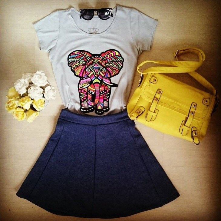 tshirt-estampada-elefante-saia-godê-bolsa-amarela-colegial-look-comprar