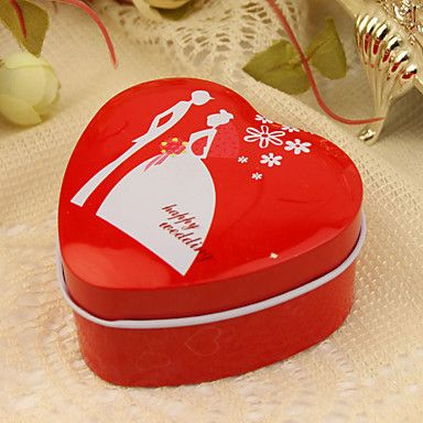 """""""Feliz casamento"""" vermelho de estanho favor coração (conjunto de 12) – EUR € 6.01"""
