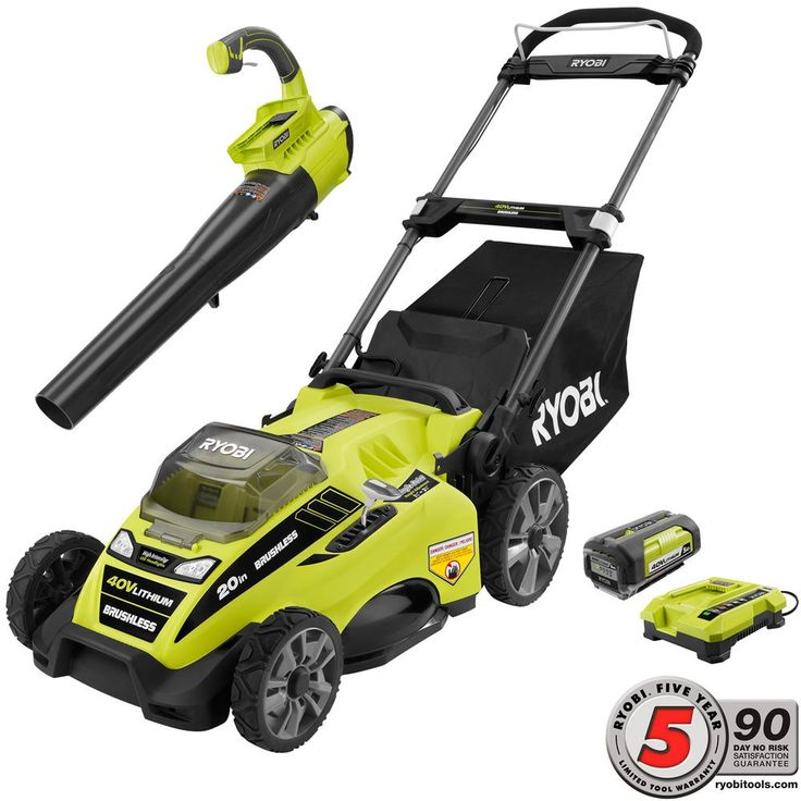 20 in. 40-Volt Lithium-Ion Cordless Lawn Mower with Jet Fan Blower Combo Kit