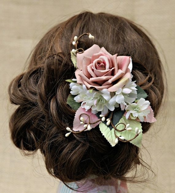 Mauve rose bridal hair clip rose bridal by HollyHoopsArt on Etsy, $70.00