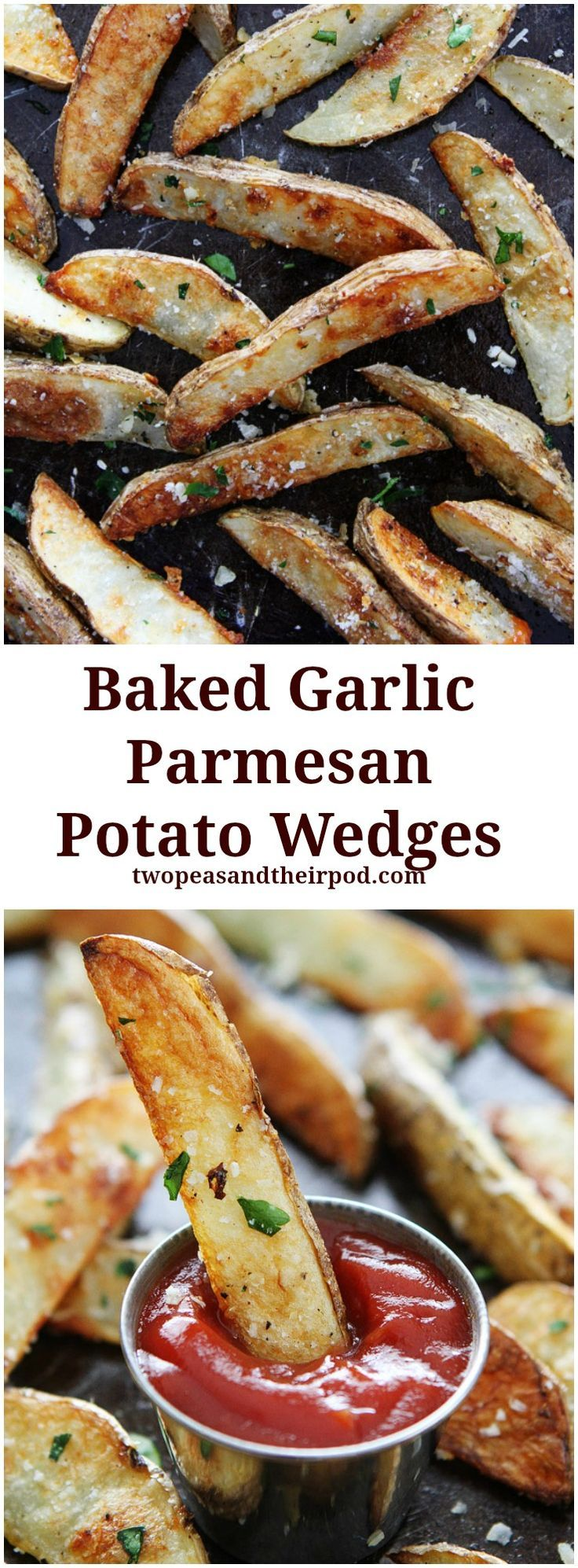 Baked Garlic Parmesan Potato Wedges Recipe on http://twopeasandtheirpod.com These are our favorite fries and they are so easy to make at home! Plus, you will never know they are baked and not fried!