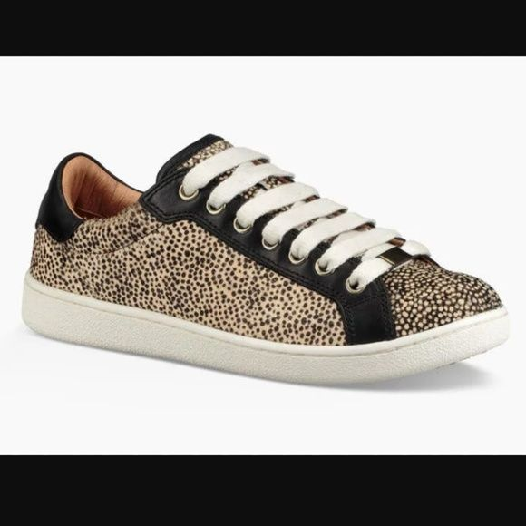 Shop Women's UGG Black Cream size 10 Sneakers at a discounted price at Poshmark. Description: Brand new from UGG Australia! Milo style lace up sneakers in exotic animal print cheetah Calf hair animal print exterior, black & tan dotted Metal eyelets and lace clip PORON and EVA insole for all day comfort Leather insole lining and rubber outsole Retails $130 Perfect for any animal lover! Women's size 10. Sold by illuminatedddd_. Fast delivery, full service customer support.