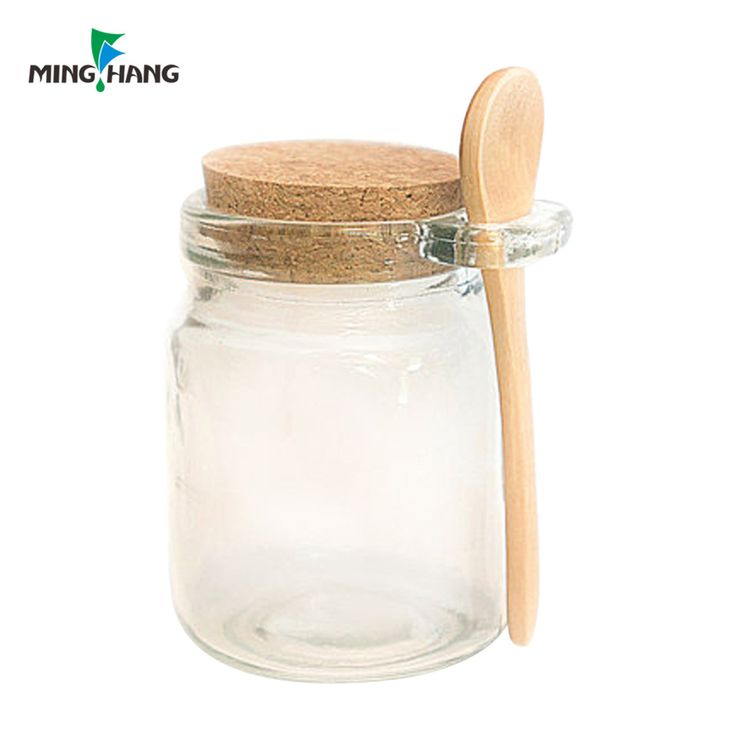 Wholesale glass jar with bamboo spoon and cork lid for spices Salt Seasonings 8oz