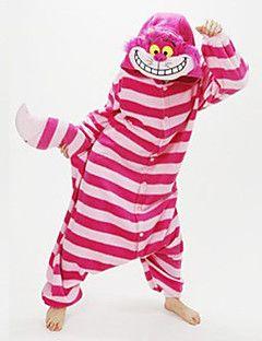 nieuwe cosplay®unisex fuschia strepen Cheshire Cat coral fleece kigurumi pyjama (zonder schoenen)
