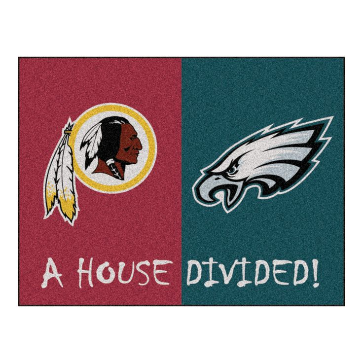 Eagles vs Redskins Rivalry Rug, except remove the green half. Add a burgundy half to the already burgundy rug. Sew it together and write United where it would have otherwise said Divided. Now it's a classy piece of decor and not just a place to wipe your feet.