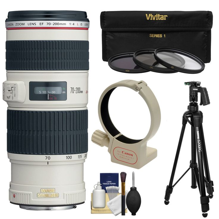 Canon EF 70-200mm f/4L IS USM Zoom Lens with Tripod + Ring Mount + 3 Filters + Kit 3 UV/CPL/ND8 Filters for EOS 6D, 70D, 5D Mark II III, Rebel T3, T3i, T4i, T5, T5i, SL1 DSLR Cameras